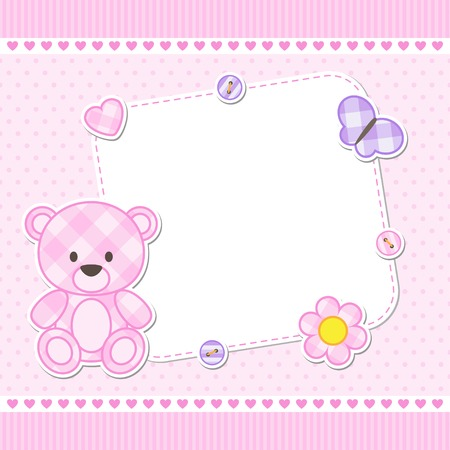 Card with pink teddy bear for girl. Vector template with place for your text