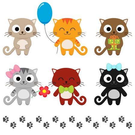 gato caricatura: Conjunto estilizado de gatitos lindos de la historieta. Ilustración vectorial
