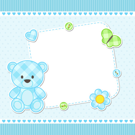 baby stickers: Card with blue teddy bear for boy. Vector template with place for your text
