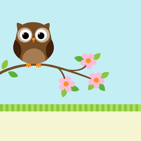 Owl sitting on blooming branch. Vector illustration