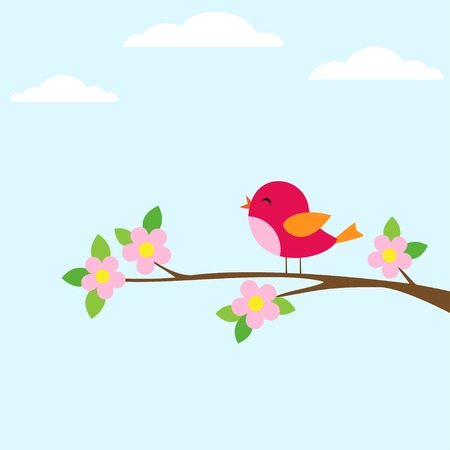 Bird sitting on blooming branch. Vector illustration Иллюстрация