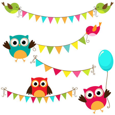 funny birthday: Vector set of colorful and bright bunting with birds Illustration