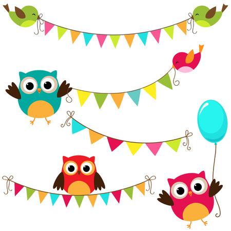 Vektor-Reihe von bunten und hellen bunting mit Vögeln