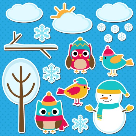 winter tree: Cute vector set of different winter elements Illustration