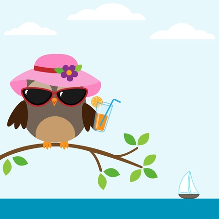 yacht: Cute owl with sunglasses sitting on the tree near the sea Illustration
