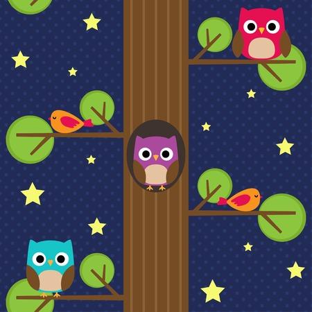 buonanotte: Gufi di notte sull'albero. Seamless pattern.