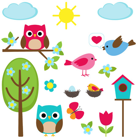 Cute vector set of different spring elements Illustration