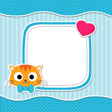 baby stickers: Illustration with cute cat and heart for boy. Vector template with place for your text.  Card for baby shower, birth announcement or birthday invitation. Illustration