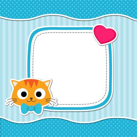 Ilustración con lindo gato y el corazón para el muchacho. Modelo del vector con el lugar para su texto. Tarjeta para el bebé ducha, aviso del nacimiento o de la invitación del cumpleaños.