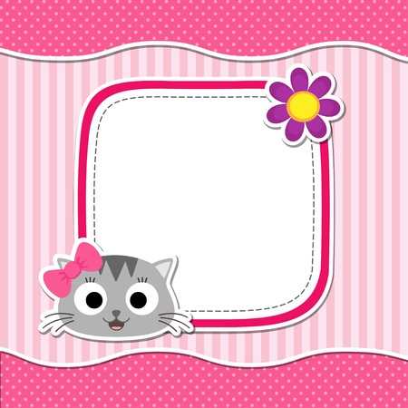 birth announcement: Illustration with cute cat and flower for girl. Vector template with place for your text.  Card for baby shower, birth announcement or birthday invitation.