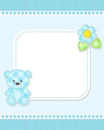 소년 블루 테디 베어의 그림입니다. 텍스트에 대 한 장소 벡터 템플릿입니다. 베이비 샤워, 출생 발표이나 생일 초대장 카드입니다.