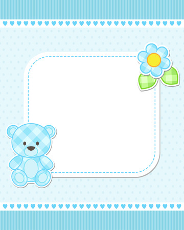 Illustration of blue teddy bear for boy. Vector template with place for your text.  Card for baby shower, birth announcement or birthday invitation.