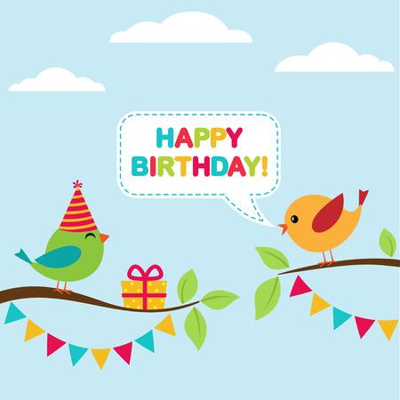 niños con pancarta: Vector tarjeta de la fiesta de cumpleaños con los pájaros lindos sentado en las ramas