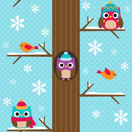and in winter: Cute vector seamless winter pattern with snowflakes. Bright background with tree and owls sitting on branches in snow. Illustration