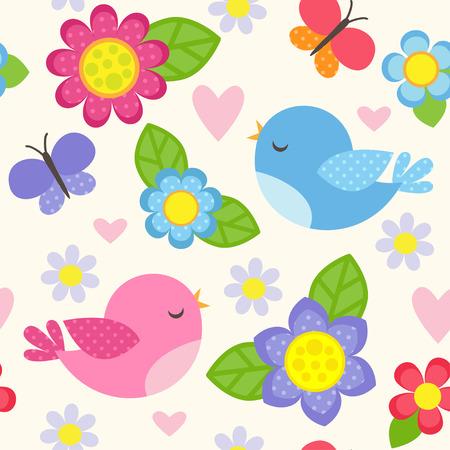 pajaro dibujo: Modelo inconsútil del vector con el azul y rosa aves, mariposas, corazones y flores para la niña. Fondo floral romántico para la boda, día de San Valentín, textil o papel de regalo. Vectores