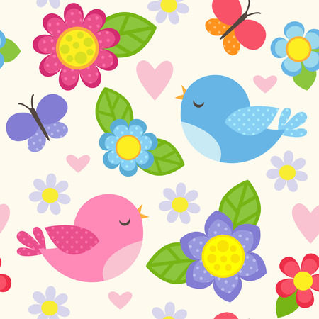 green cute: Seamless vector pattern with blue and pink birds, butterflies, hearts and flowers for girl. Romantic floral background for wedding, Valentines Day, textile or wrapping paper.