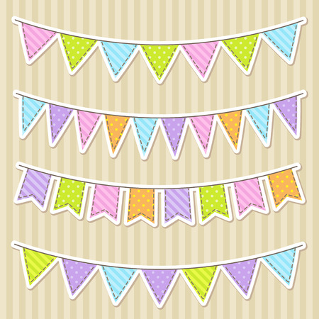 party streamers: Vector set of colorful and bright bunting