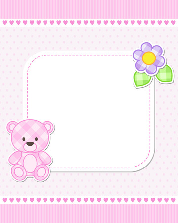 birth announcement: Illustration of pink teddy bear for girl. Vector template with place for your text.  Card for baby shower, birth announcement or birthday invitation.