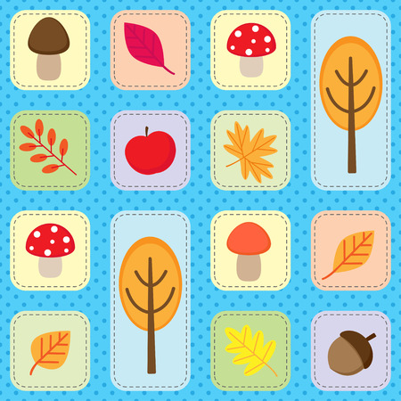 acorn: Cute seamless autumn pattern with nature elements. Vector background with fall leaves, trees, mushroom, accorn and apple