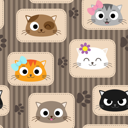 paws: Seamless pattern with cute cats. Vector illustration