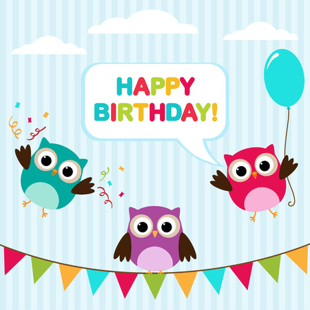 Vector birthday party card with cute owls, balloon and bunting. Illustration