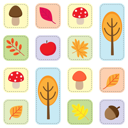 fall leaves on white: Cute seamless autumn pattern with nature elements. Vector icons of fall leaves, trees, mushroom, accorn and apple on white background Illustration