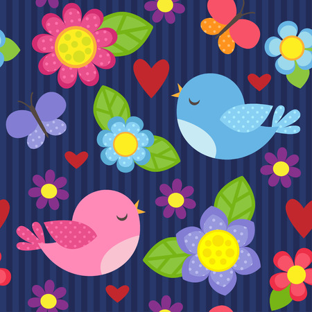 Seamless vector pattern with blue and pink birds, butterflies, hearts and flowers for girl. Romantic floral background for wedding, Valentines Day, textile or wrapping paper.