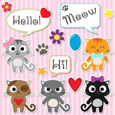 rosa negra: Conjunto de gatitos lindos de la historieta. Ilustración vectorial