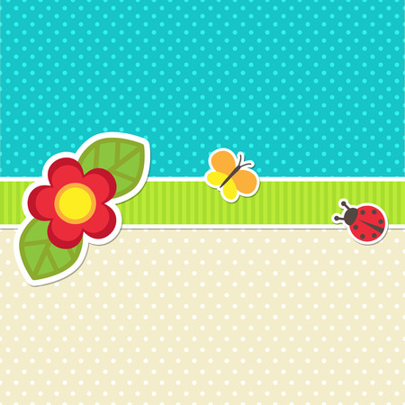 ladybug on leaf: Vector card with flower, butterfly and ladybug Stock Photo