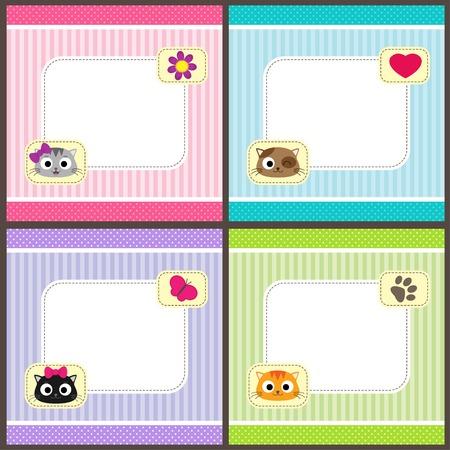 bebes ni�as: Conjunto de tarjetas de vector con gatos de dibujos animados y el lugar de su texto. Plantillas para la ducha del beb�, aviso del nacimiento o de la invitaci�n del cumplea�os.