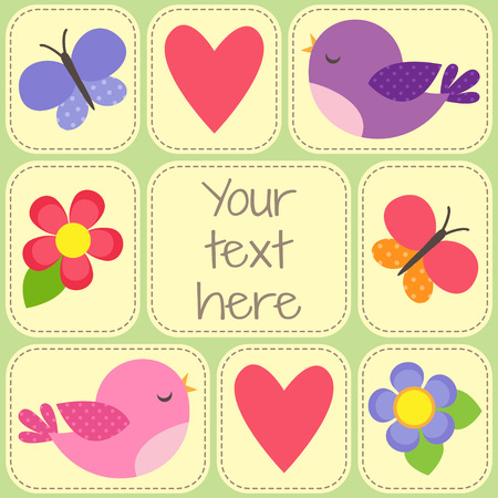 photo frames: Vector card with cute birds, butterflies and flowers. Template with place for your text or photo