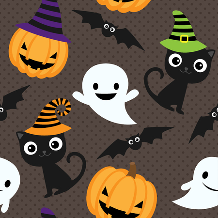 Seamless halloween vector pattern with cats, ghosts and pumpkins