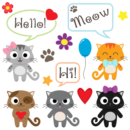 kitten cartoon: Set of cute cartoon kittens. Vector illustration