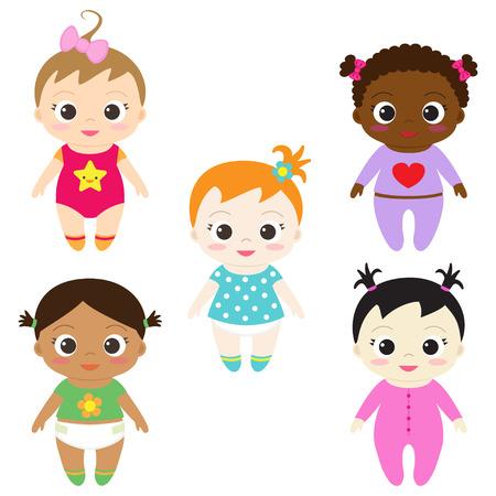 schwarz: Set von sechs verschiedenen glückliche Babys,