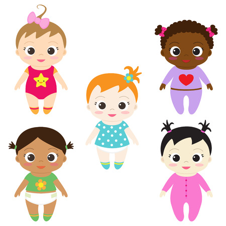 Set of six different happy baby girls Illustration