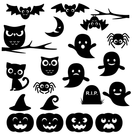 spider cartoon: Vector collection of different black Halloween silhouettes