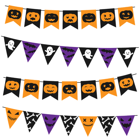 Vector Halloween bunting pack on white background