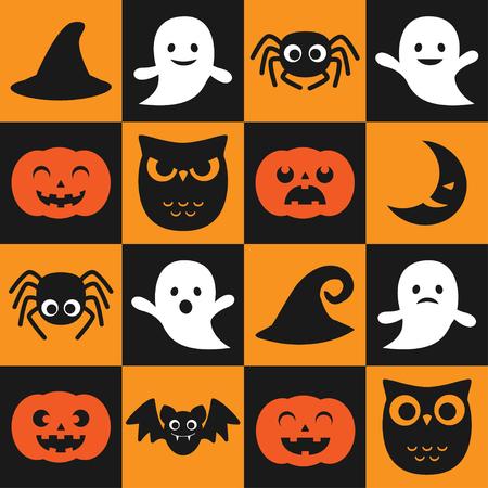 calabazas de halloween: Modelo inconsútil del vector de Halloween con búhos, fantasmas y calabazas