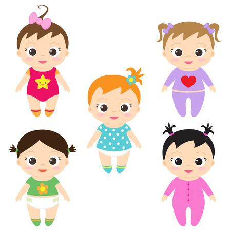 cabello negro: Ilustración vectorial de las niñas felices y sonrientes bebé Vectores