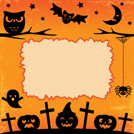 Halloween card or banner with owl, bats, pumpkins in night. Vector background.