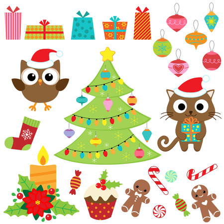 Christmas vector set with presents, sweets, tree, ornaments, owl and cat in costumes Çizim