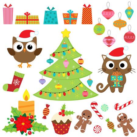 Vánoční vektor sada s dárky, sladkosti, strom, ozdoby, sova a kočka v kostýmech