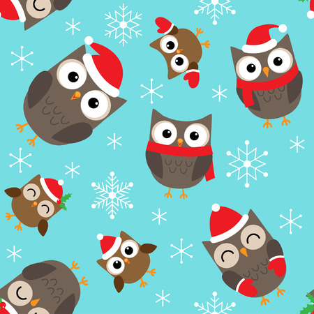 new baby: Seamless Christmas vector pattern with cute owls