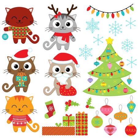 koty: Christmas vector zestaw kotów w stroje, prezenty, drzewa, ozdoby i płatki śniegu