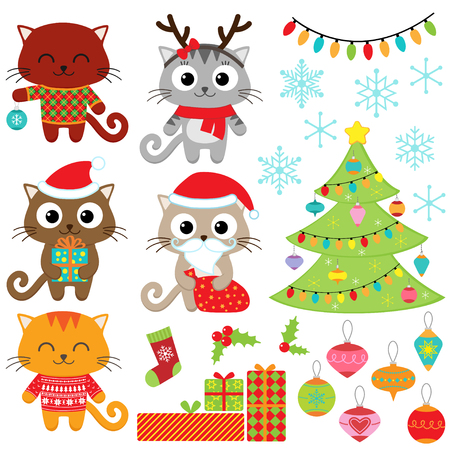 Christmas vector set of cats in costumes, gifts, tree, ornaments and snowflakes