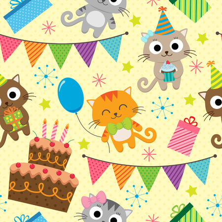 birthday party background: Vector birthday party background with cute cats Illustration