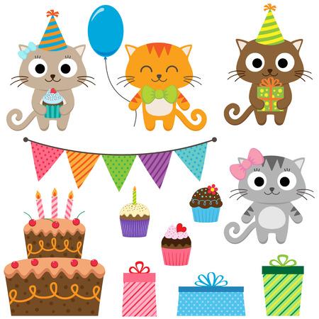 fiesta familiar: Conjunto de elementos de la fiesta de cumpleaños del vector con gatos lindos