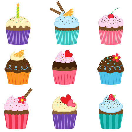 Vector set of nine different cute cupcakes