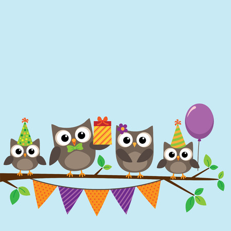 owl family: Vector birthday party card with cute owls on tree