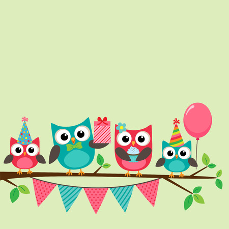 cute baby girls: Vector birthday party card with cute owls on tree